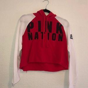 PINK: Cropped Pink Nation Sweatshirt